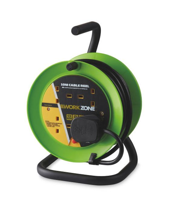 Green 10m A-Frame Cable Reel with 4 Sockets.