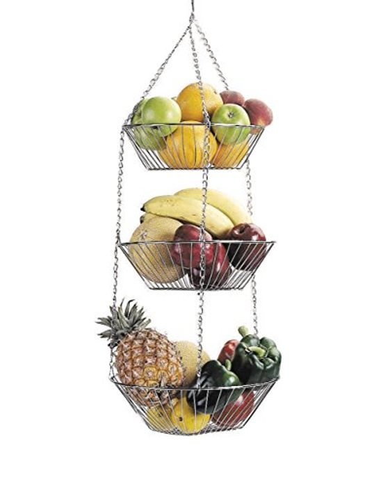 KitchenCraft Tiered Metal Hanging Storage Baskets for Fruit and Vegetables
