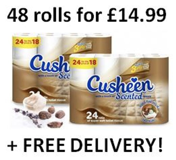 48 Cusheen Quilted Luxury Shea Butter Scented 3 Ply Toilet Rolls - FREE DELIVERY