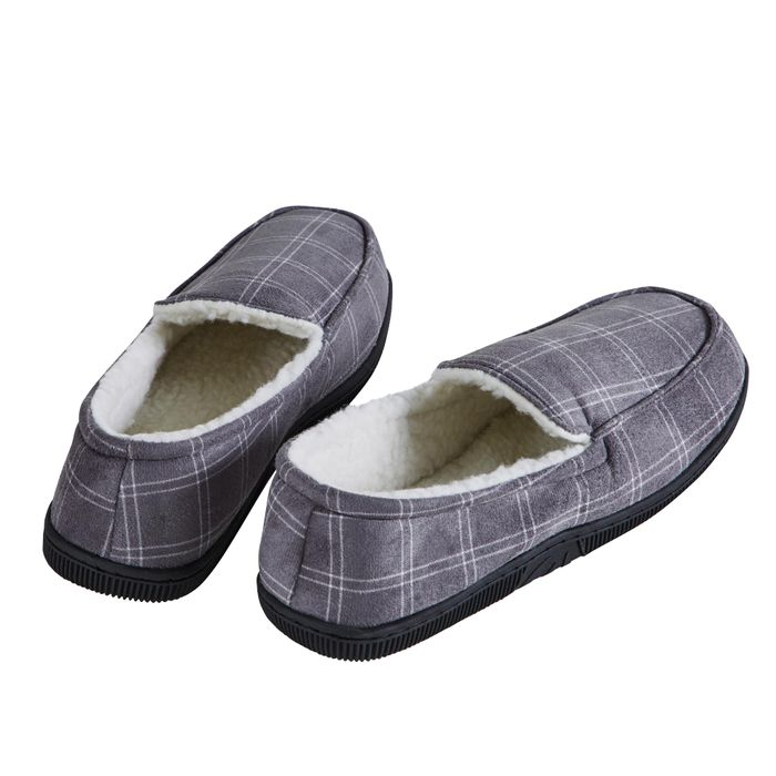 Men's Traditional Grey Check Slippers
