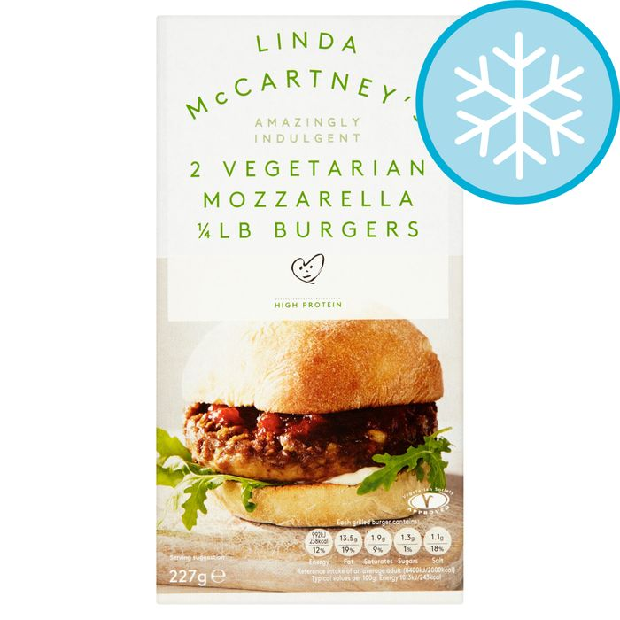 Linda McCartney's Meat Free 2 Mozzarella 1/4lb Burgers £1 Tesco