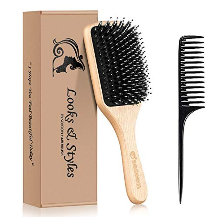 Boar Bristle Paddle Hairbrush for Long Thick Curly Wavy Dry or Damaged Hair