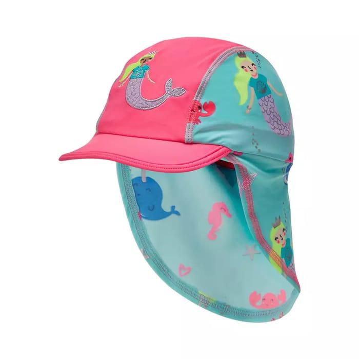 Bluezoo-Girls' Aqua Mermaid Print Keppi Hat