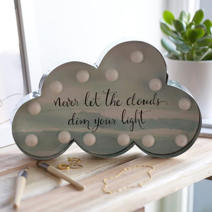 Pastel Patterned LED Cloud Quote Light