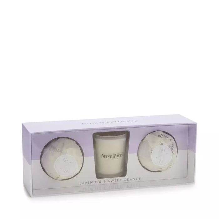 Best Price! Aromaworks-Lavender and Sweet Orange Mini Candle and Bath Bomb Set