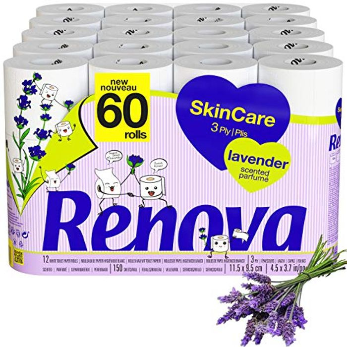 60 Renova Skincare Toilet Rolls - 3 Ply Quilted Lavender - FREE DELIVERY