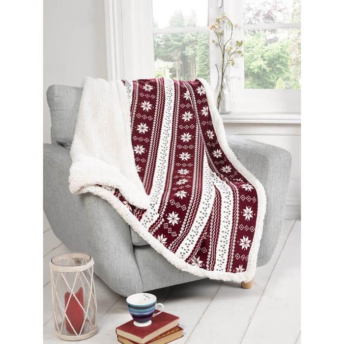 Rapport Alpine Fleece Blanket Throw - Red