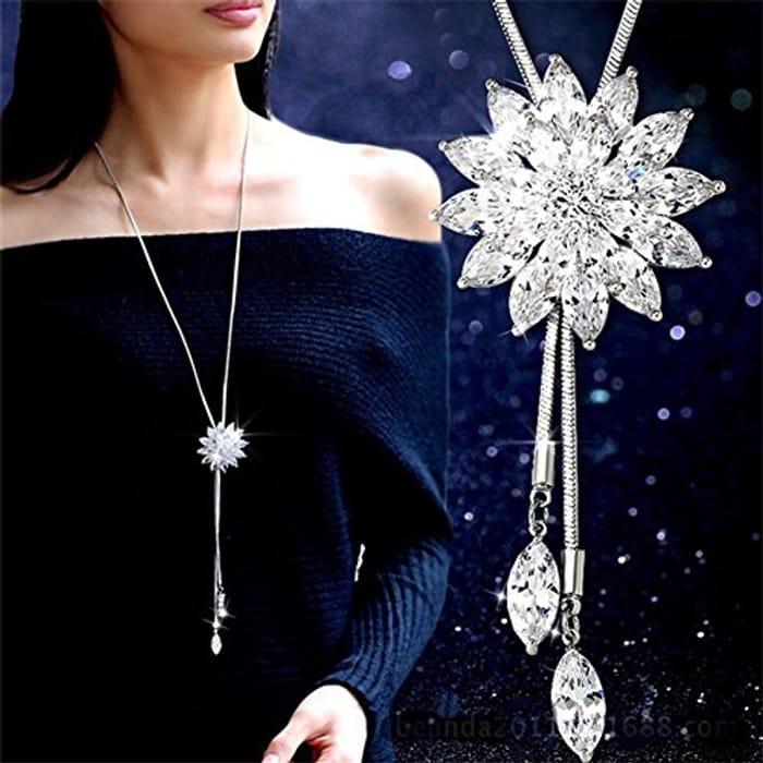 Elistelle Women Cubic Zirconia Flower Necklace
