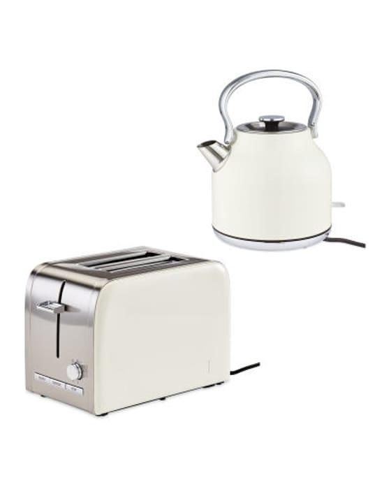 Premium Cream Kettle & Toaster