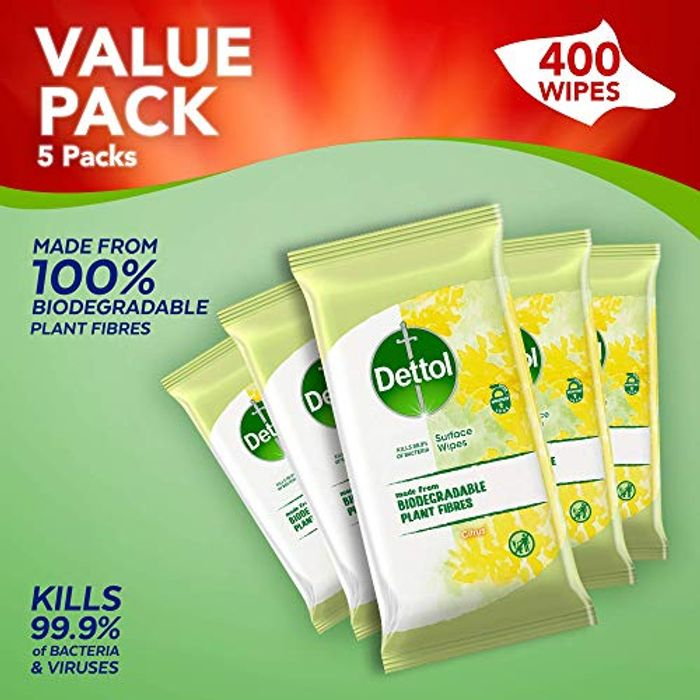 400 Dettol Wipes Citrus Antibacterial Multi Surface Cleaning, 5 Packs of 80