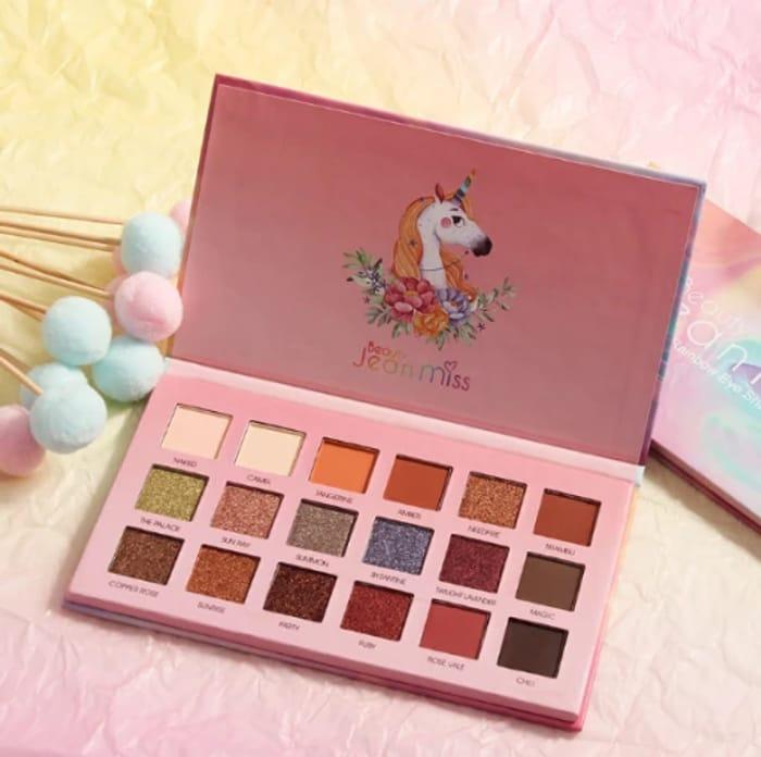 Free Jean Miss 18 Colours Rainbow Unicorn Eyeshadow Palette
