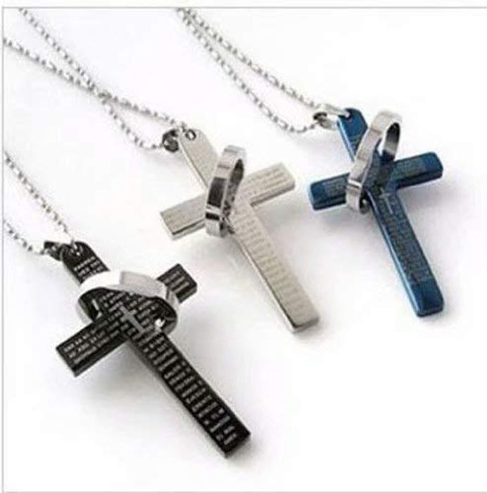 Men's Stainless Steel Cross &Ring Chain Pendant Necklace