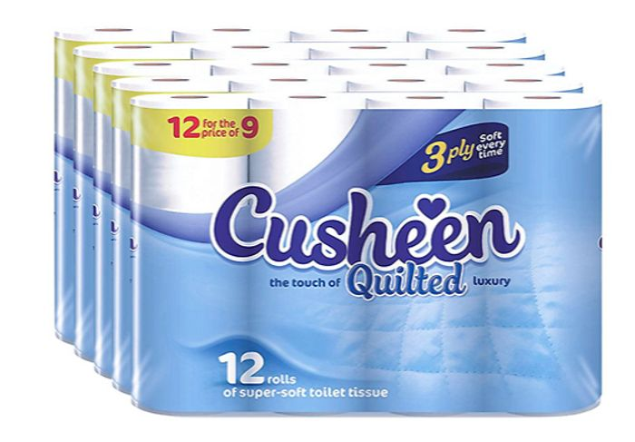 60-Pack of Cusheen Quilted White Toilet Rolls for £13.50