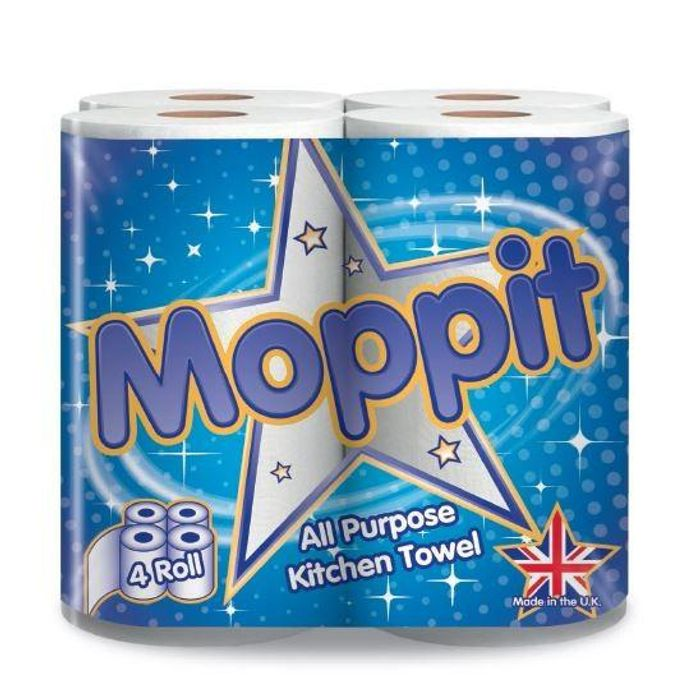 Moppit All Purpose Kitchen Roll Paper Towels (4 Pack)