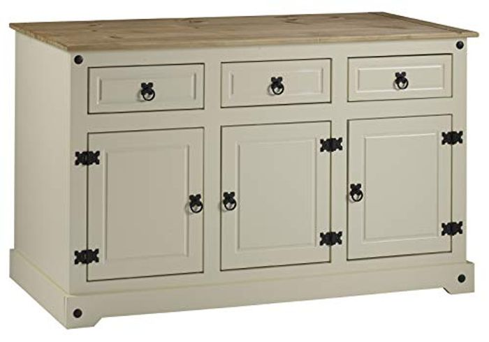 Mercers Furniture Corona Painted 3-Door 3-Drawer Sideboard - Cream / Pine