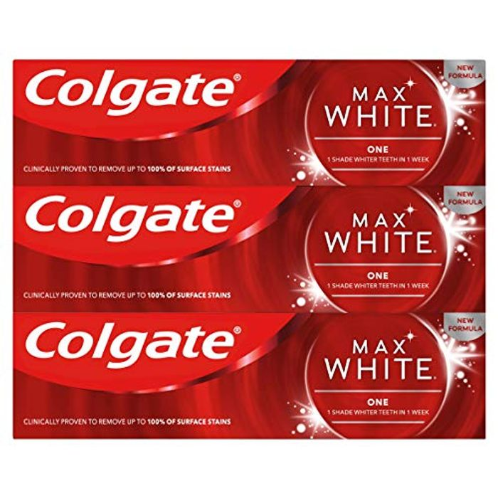 Colgate Max White One Whitening Toothpaste 3 X 75ml Multipack