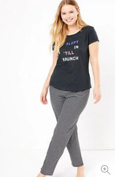 M and S Slogan Pyjama Set