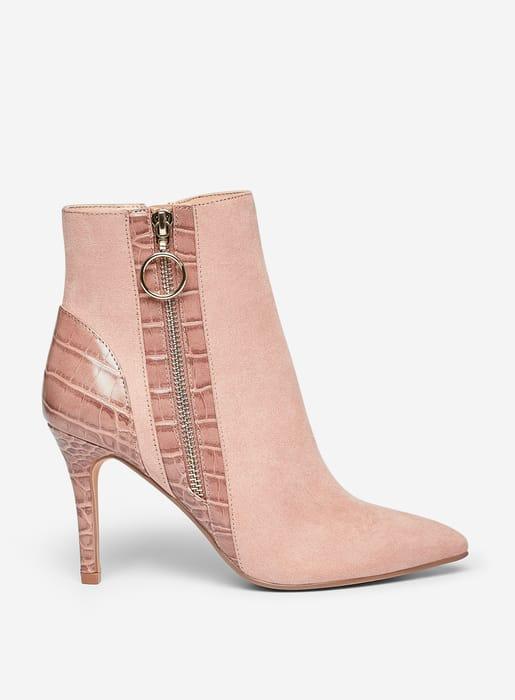 Blush 'Allice' Crocodile Design Heeled Boots