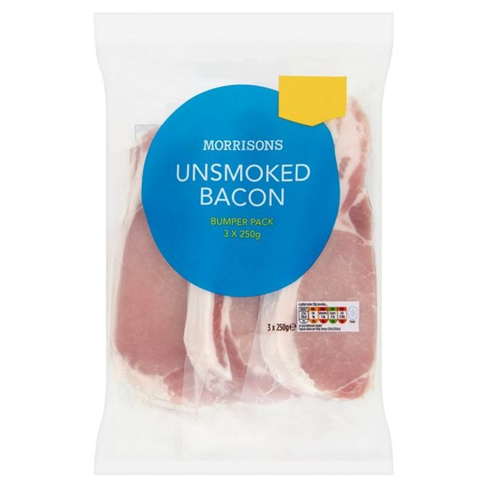 2 for £3 Morrisons Unsmoked Back Bacon 750g
