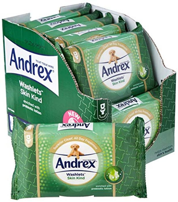 Andrex Skin Kind Washlets, Luxury Toilet Wipes 12 Packs (+25% More off S&S)