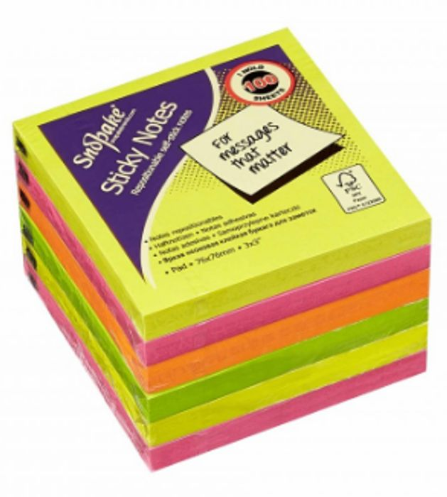 Snopake Sticky Notes 76x76mm Pack of 6 Neon Only 90p
