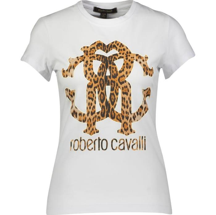 ROBERTO CAVALLI White Animal Print Logo T Shirt