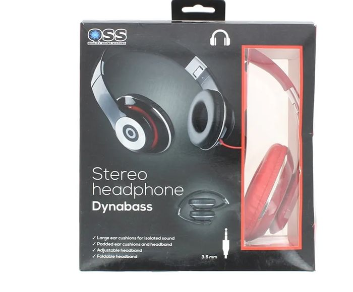Dynabass Stereo Foldable Headphone Red Or Blue
