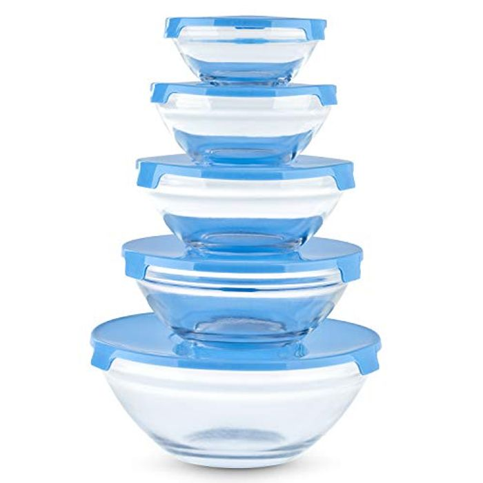 5pc Stackable Glass Food Storage Bowl Set with Lids