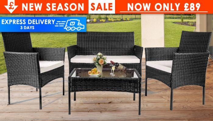 4-Piece Rattan Furniture Set with Cushions