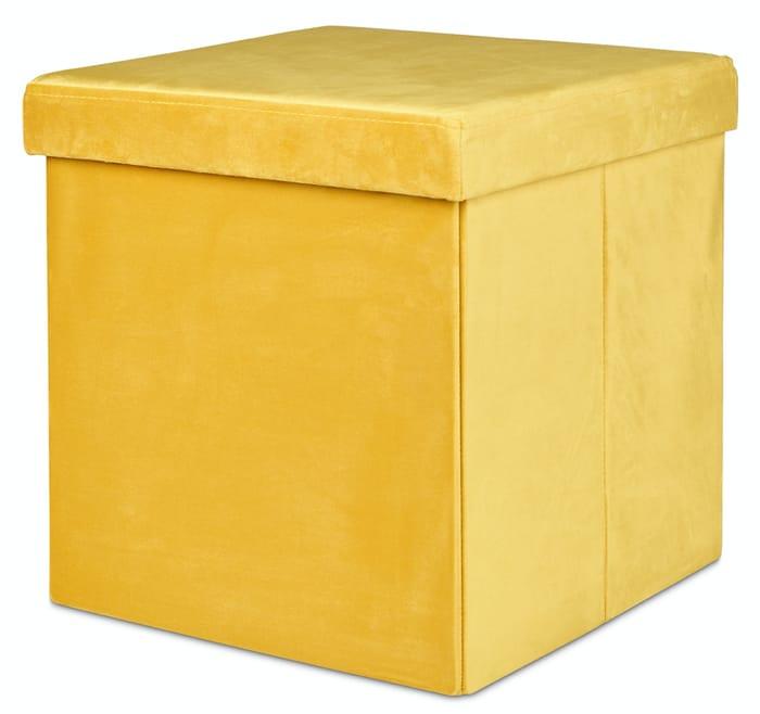 Velvet Ottoman, Mustard - Storage & Seat in 1