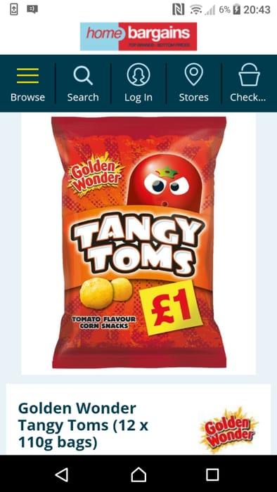 Golden Wonder Tangy Toms (12 X 110g Bags)