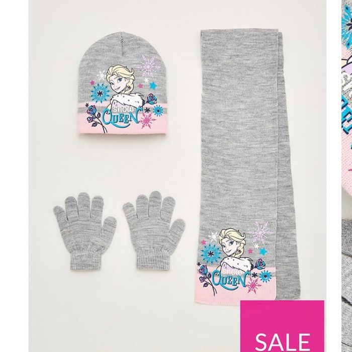 Girls Frozen 3 Piece Knitted Hat, Scarf & Gloves