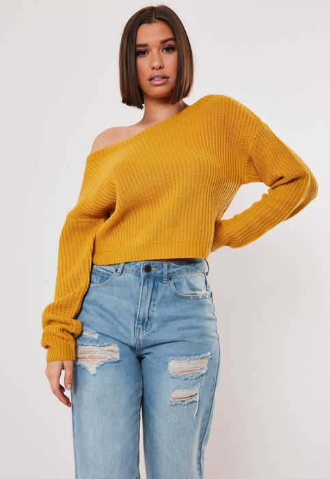 Mustard Yellow Crop off Shoulder Jumper, Only £4.00!