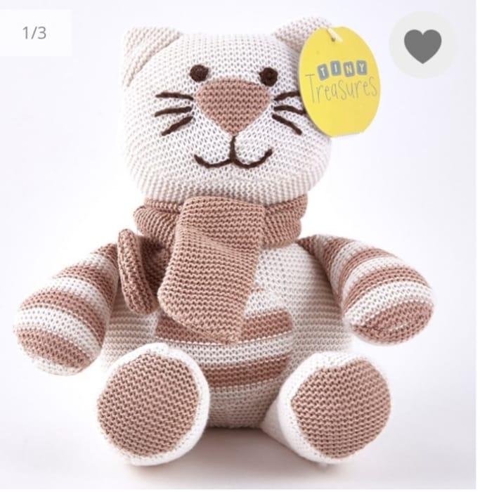 Tiny Treasures Striped Cream & Beige Cat with Scarf