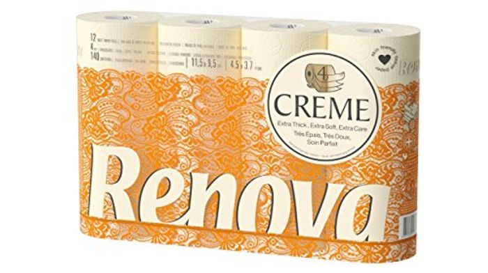 12 Renova Creme 4-Ply, Scented Toilet Rolls