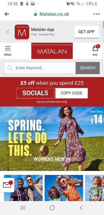 £5 off £25 Spend at Matalan Online