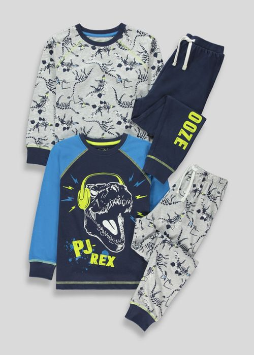 Boys 2 Pack Dinosaur Pyjamas (4-13yrs)