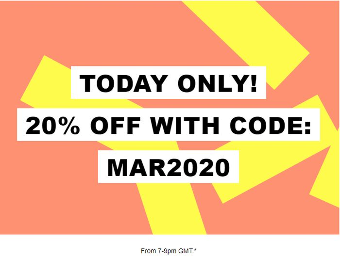 Extra 20% off EVERYTHING at ASOS between 7pm - 9pm Tonight