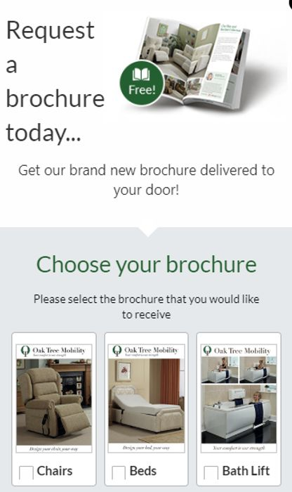 Choice Of Brochures From Oak Tree Mobility FREE BY POST