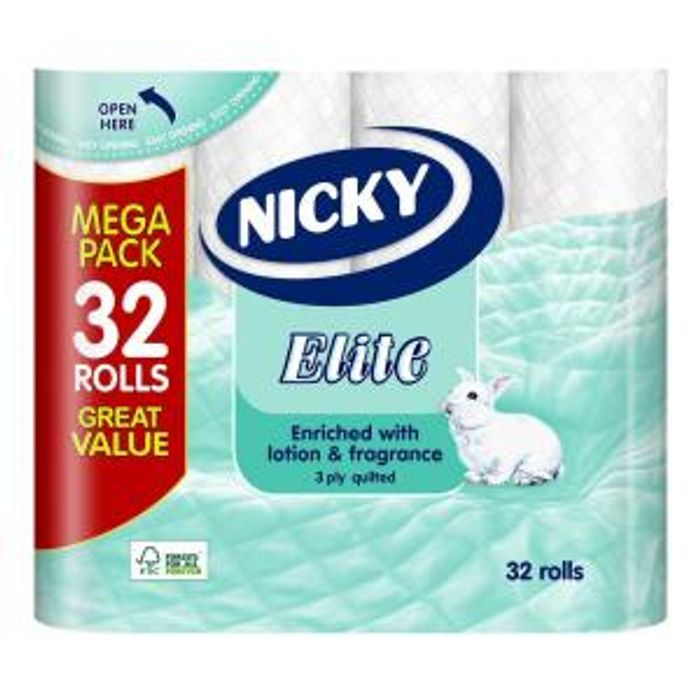26p per Roll - Nicky Elite 3-Ply Toilet Rolls X 160 Rolls