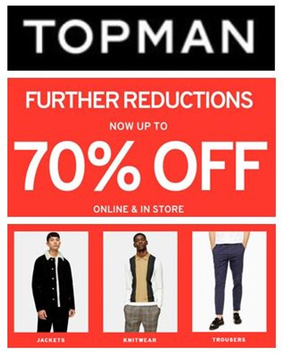 TOPMAN SALE - Further Reductions - up to 70% OFF