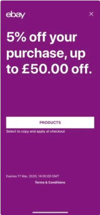 5% off Your Purchase on Ebay, up to £50 off Expires Mar 17