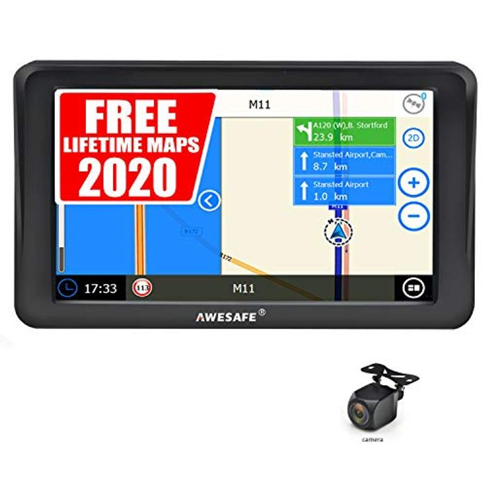 Sat Nav with Rear View Camera 7 Inch 2020 Bluetooth Car GPS Navigation System