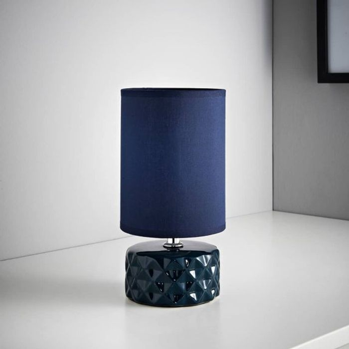 Geo Ceramic Lamp - Navy Choice of 3 Colours