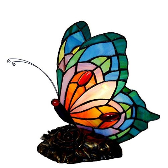 Bieye L30040 Butterfly Tiffany Style Stained Glass Accent Table Lamp
