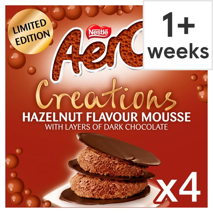 Nestle Aero Creations Hazelnut Flavoured Mousse 4X57g