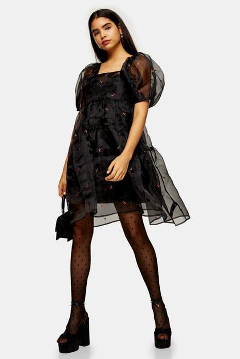 Black Organza Tiered Dress