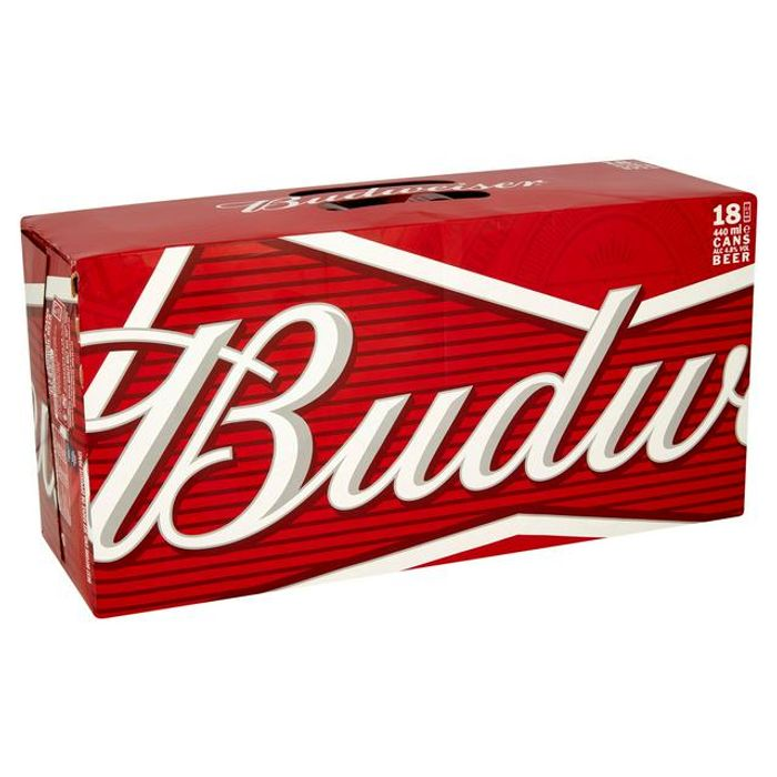 Save £3 Budweiser Lager Beer Cans 18x440ml