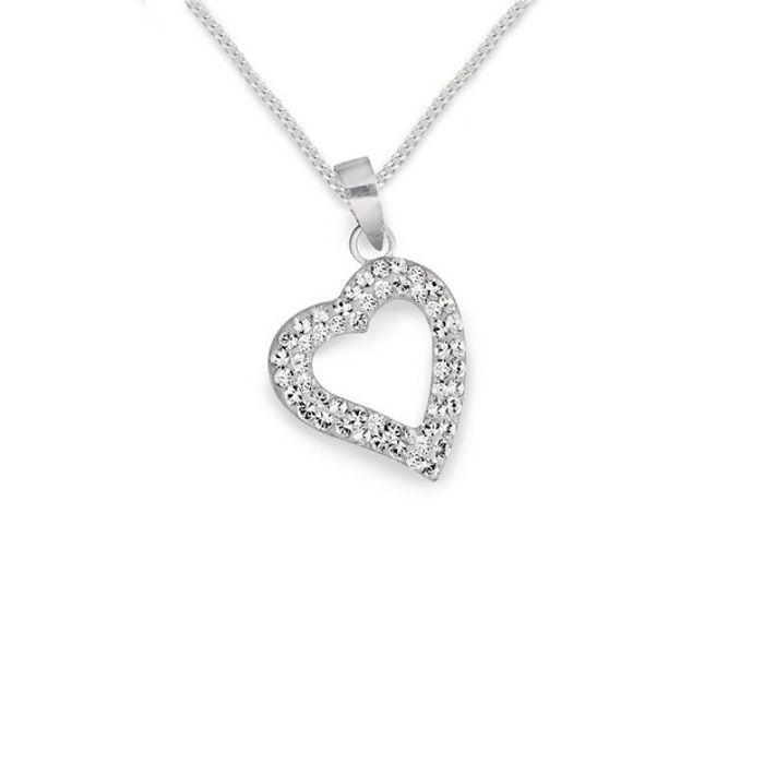 "Revere Sterling Silver Crystal Heart Pendant 18"" Necklace £7.49"