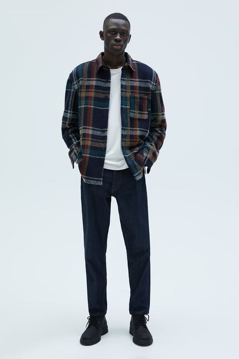 TEXTURED CHECK OVERSHIRT at Zara 60% off Was £49.99 Now £19.99
